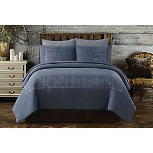 Cotton Full/Queen Duvet Set, Blue, rollover