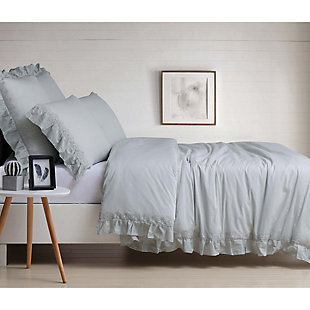 3 Piece King Duvet Set, Gray, large