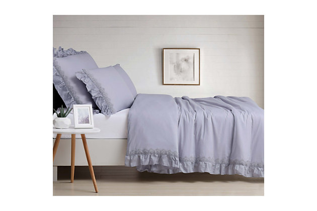 3 Piece Full/Queen Duvet Set, Lavender, large
