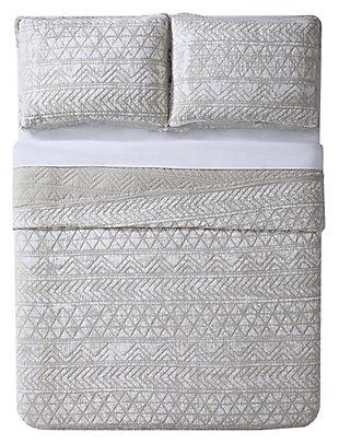 2 Piece Twin XL Quilt Set, White, large