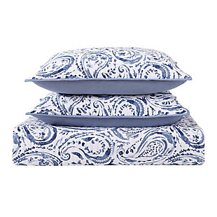 Floral Print Twin XL Quilt Set, White/Navy, large