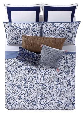 Floral Print Twin XL Quilt Set, White/Navy, large