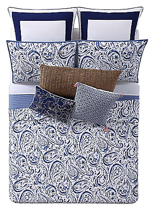 Floral Print Full/Queen Quilt Set, White/Navy, large