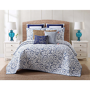 Floral Print Twin XL Quilt Set, White/Navy, rollover