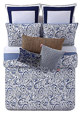 Floral Print Twin XL Comforter Set, White/Navy, large