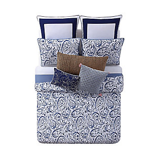 Floral Print Full/Queen Duvet Set, White/Navy, large