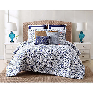Floral Print Full/Queen Duvet Set, White/Navy, rollover