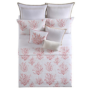 Coastal Full/Queen Quilt Set, Coral/White, large