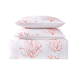 2 Piece Twin XL Comforter Set, Coral/White, large