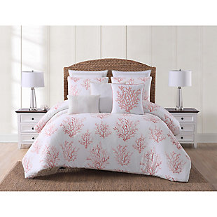 Coastal Twin XL Comforter Set, Coral/White, rollover
