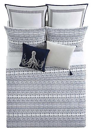 2 Piece Twin XL Quilt Set, Blue/White, large