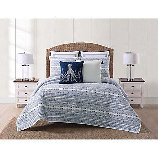 Coastal Twin XL Quilt Set, Blue/White, rollover