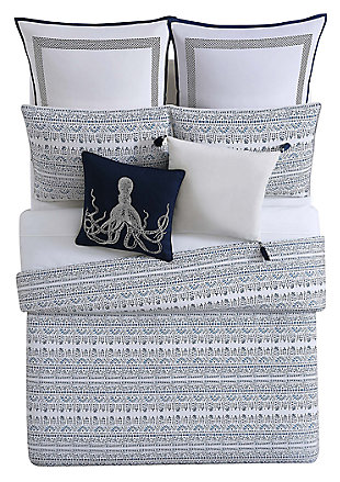 Coastal Twin XL Comforter Set, Blue/White, large