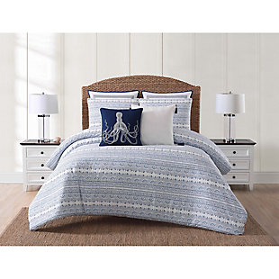 Coastal Twin XL Comforter Set, Blue/White, rollover