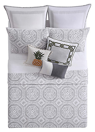 3 Piece Full/Queen Quilt Set, Gray/White, large