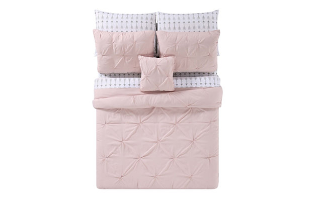 Pleated Twin Comforter Set, Blush Pink, large