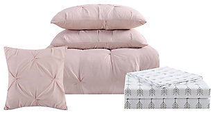 Pleated Arrow Twin XL Comforter Set, Blush Pink, large