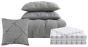 Pleated Arrow Twin XL Comforter Set, Gray, large