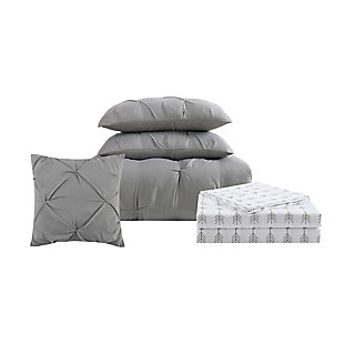 Pleated Arrow Twin Comforter Set, Gray, large
