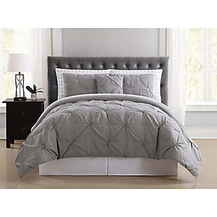 3 Piece Twin Comforter Set, Gray, rollover