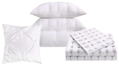 Pleated Arrow Twin Comforter Set, White, large