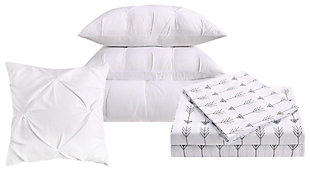 Pleated Arrow Queen Comforter Set, White, large