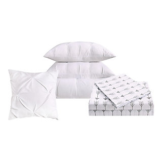 Pleated Arrow Twin Comforter Set, White, large