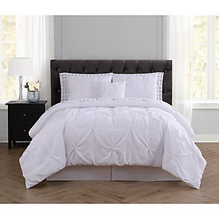 Pleated Arrow Queen Comforter Set, White, rollover