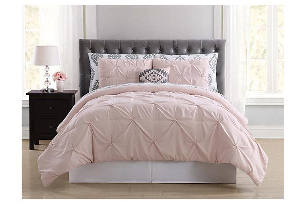 Pleated Twin Comforter Set, Blush Pink, large