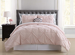 Pleated Twin Comforter Set, Blush Pink, rollover