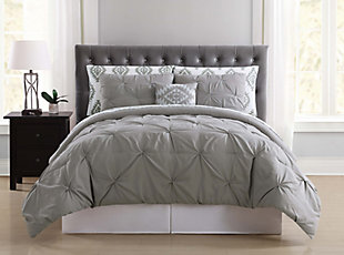 Pleated Twin Comforter Set, Gray, rollover