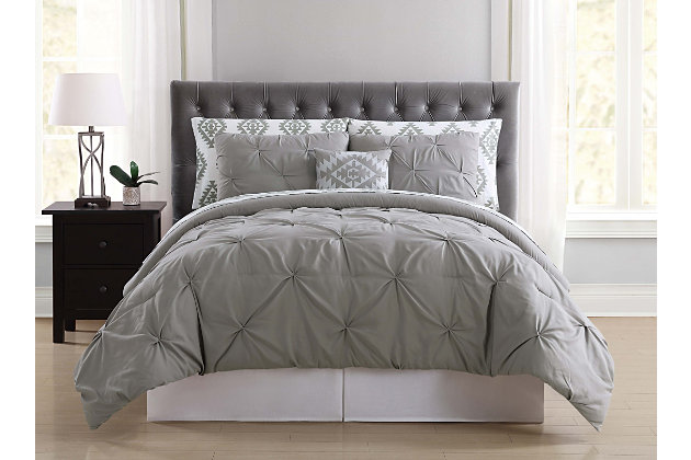 3 Piece Twin Comforter Set, Gray, large