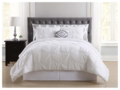 Pleated Twin Comforter Set, White, large