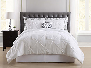Pleated Twin Comforter Set, White, rollover