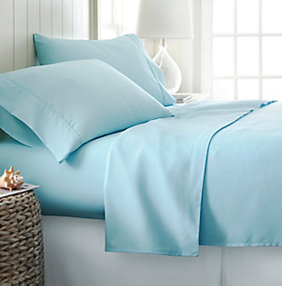 4 Piece Premium Ultra Soft Twin Sheet Set, Aqua, rollover