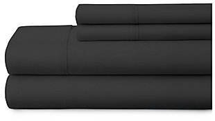4 Piece Premium Ultra Soft Twin Bed Sheet Set, Black, large
