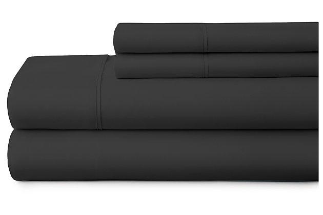 4 Piece Premium Ultra Soft California King Bed Sheet Set, Black, large
