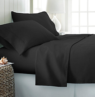 4 Piece Premium Ultra Soft Twin Bed Sheet Set, Black, rollover