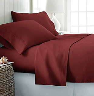 4 Piece Premium Ultra Soft Twin Bed Sheet Set, Burgundy, rollover