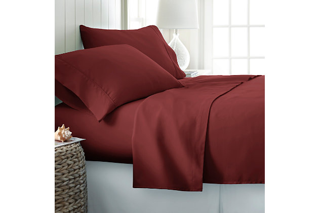 4 Piece Premium Ultra Soft Twin Sheet Set, Burgundy, large