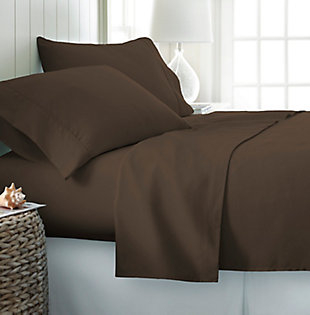 4 Piece Premium Ultra Soft Twin Bed Sheet Set, Chocolate, rollover
