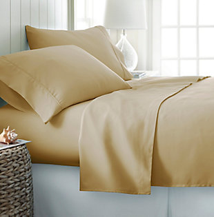 4 Piece Premium Ultra Soft Twin Sheet Set, Gold, rollover