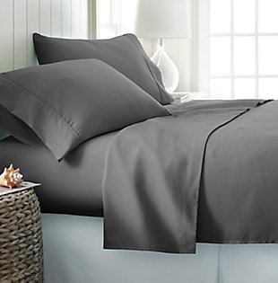 4 Piece Premium Ultra Soft Queen Bed Sheet Set, Gray, rollover