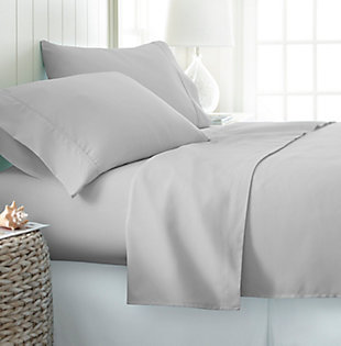 4 Piece Premium Ultra Soft Twin Bed Sheet Set, Light Gray, rollover