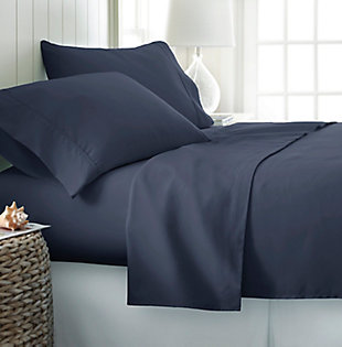 4 Piece Premium Ultra Soft Twin Sheet Set, Navy, rollover