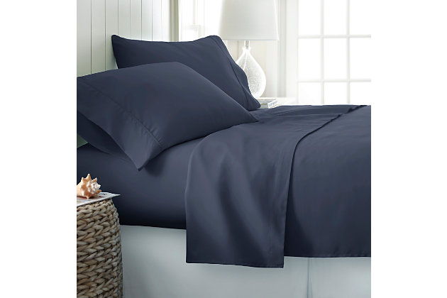 4 Piece Premium Ultra Soft Twin Sheet Set, Navy, large