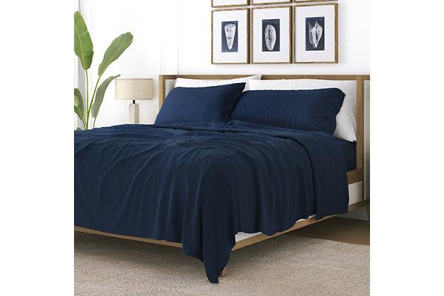 3 Piece Premium Ultra Soft Twin Sheet Set, Navy, large