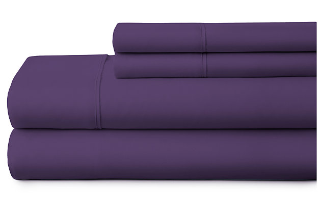 3 Piece Premium Ultra Soft Twin Sheet Set, Purple, large