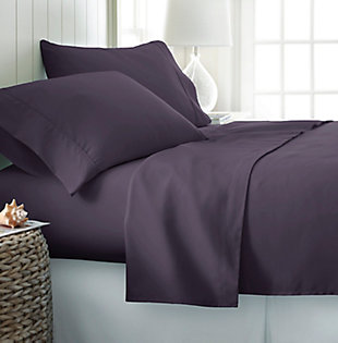 4 Piece Premium Ultra Soft Twin Bed Sheet Set, Purple, rollover