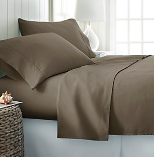 3 Piece Premium Ultra Soft Twin Sheet Set, Taupe, rollover